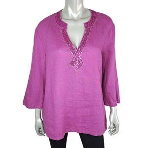 JM Collection Linen Sequined Top Plus Size 16
